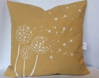 18x18 Butter Yellow Dandelion Pillow, Accent Pillow, Flower Print Pillow, White Flower, Sofa Cushion, Summer Decorative Pillow