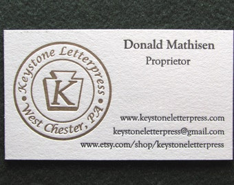 Letterpress Business Card, Sample