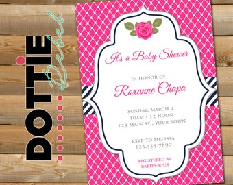 Navy and Pink Baby Shower Invitation, 5x7 verticle