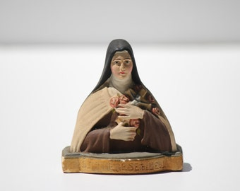Vintage French Religious, Statue, bust , Saint Theresa of Liseux ,Therese,Teresa