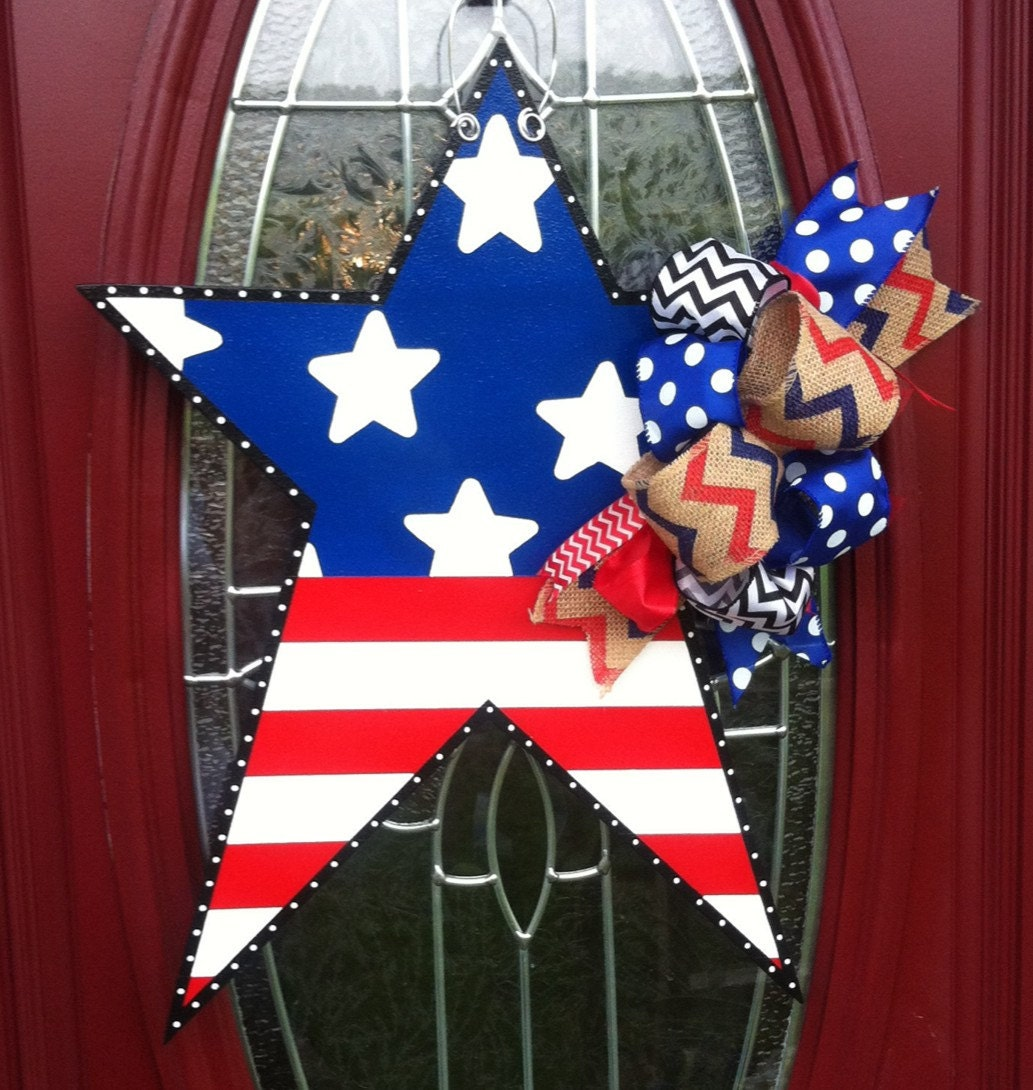 Star Door Hanger Fourth Of July Door Hanger Welcome Door