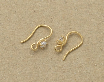 Cubic Hook Earring Component, Jewelry Craft Supplies, Polished Gold Plated over Brass - 4 Pieces-[TH0003]-PG
