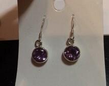 Amethyst Earring - Sterling silver Amethyst Earrings - Amethyst crystal pendants Earrings - Healing Crystal Pendant Earrings - Amethyst