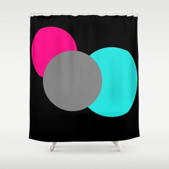 Items similar to shower curtain pink grey turquoise for Pink and gray bathroom sets