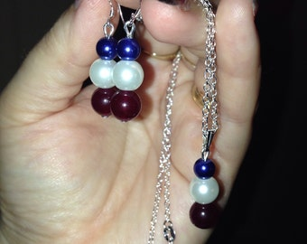 SALE! New! Handmade! Patriotic!! Red, White, and Blue Jewelry Set for 4th of July/Independane day!!