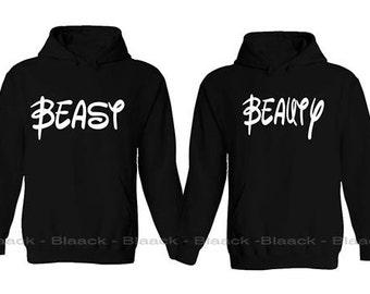 Couple Hoodie - Beast and Beauty - 2 Couple Hodies -  Matching Love Hoodie