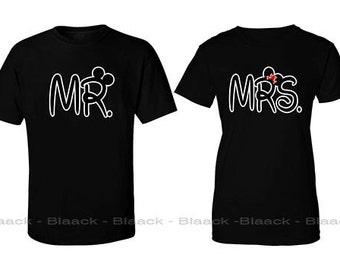 Couple T-shirt - Mr. & Mrs. - 2 Couple Tees - Matching Love Crewneck T-shirts