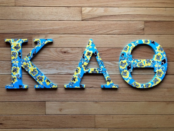 hand painted lilly pullitzer inspired wooden greek letters kappa alpha theta