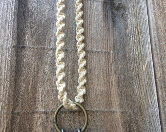Hemp woven charm necklace