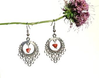 Ethnic jewelry, red jasper earrings, folk earrings, natural jasper jewelry, ethnic earrings, folk jewelry, natural red stone earring syn
