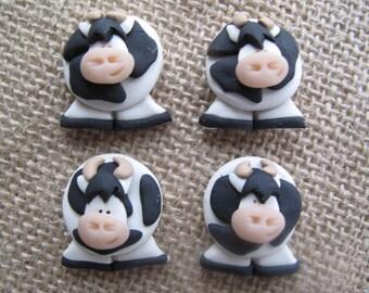 Handmade Crafting Embellishments...4pk...Cows