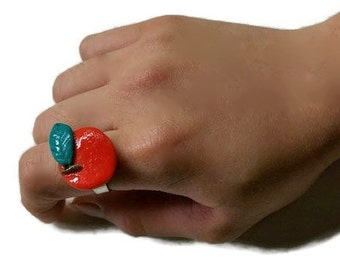 Cute Apple Adjustable Ring Polymer Clay