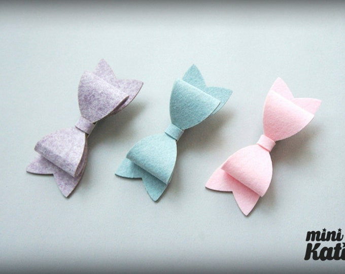 mini Katie Felt Bow Hair Barrette Hair clips Spring tone hair Accessory for Baby girls Toddlers and girls