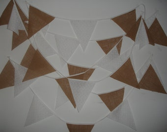 31ft Burlap/Hessian/delicate white print fabric bunting ( sample piece available )