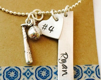 Softball Necklace, Hand Stamped Baseball Necklace, Softball Mom Necklace, Baseball Mom, Girls Baseball Necklace , Hand Stamped Personalized