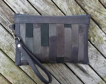 Leather clutch bag, grey leather wristlet