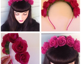 Hot Pink Rose Crown Headband