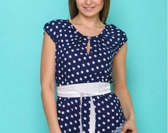 Summer blouse , Cotton blouse , Women shirt , Polka dot blouse, Office blouse, Party blouse , Blouse with belt , Dark blue blouse