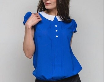 Chiffon blouse. Contrast blouse. Short sleeve blouse. Office blouse. Blouse every day.  Peter Pan collar.