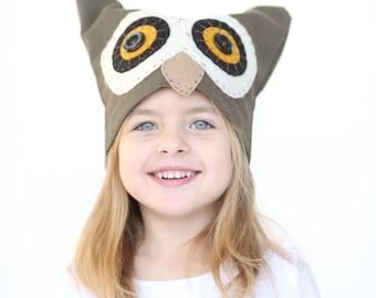 Owl hat costume, boys and girls halloween owl costume, handmade costume