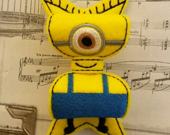 ITH minion yellow helper inspired bow Embellishment In the Hoop Embroidery Design file instant digital download cute kawaii feltie