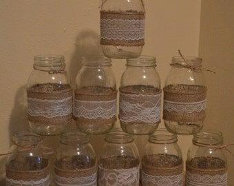 10 Burlap Mason Jar Sleeves, DIY Wedding Decorations, Rustic Wedding Decorations, Burlap and Lace