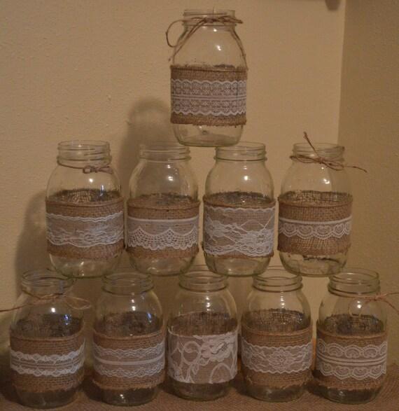 Diy Mason Jar Wedding Ideas: 10 Burlap Mason Jar Sleeves DIY Wedding By RusticWithElegance