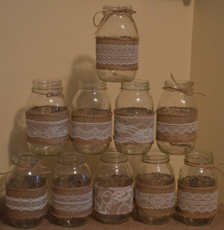 10 Burlap Mason Jar Sleeves Diy Wedding Decorations Rustic