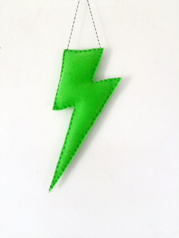 Art Wall Jr Green Jacket : Jumbo bright green lightning bolt wall hanging nursery by