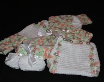 Baby Sweater Set - Crochet Baby Outfit - Baby Outfit - Handmade Baby Clothes - Crocheted 4 Piece Baby Set - Baby Shower Gift