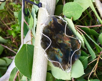 Wire wrapped labradorite on adjustable cotton cord