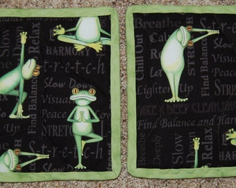Handmade Quilted Frogs Doing Yoga Potholders, set of two
