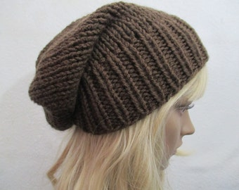 Slouchy Brown Beanie Hat  Men Hat Mens Womens  Slouchy Knit