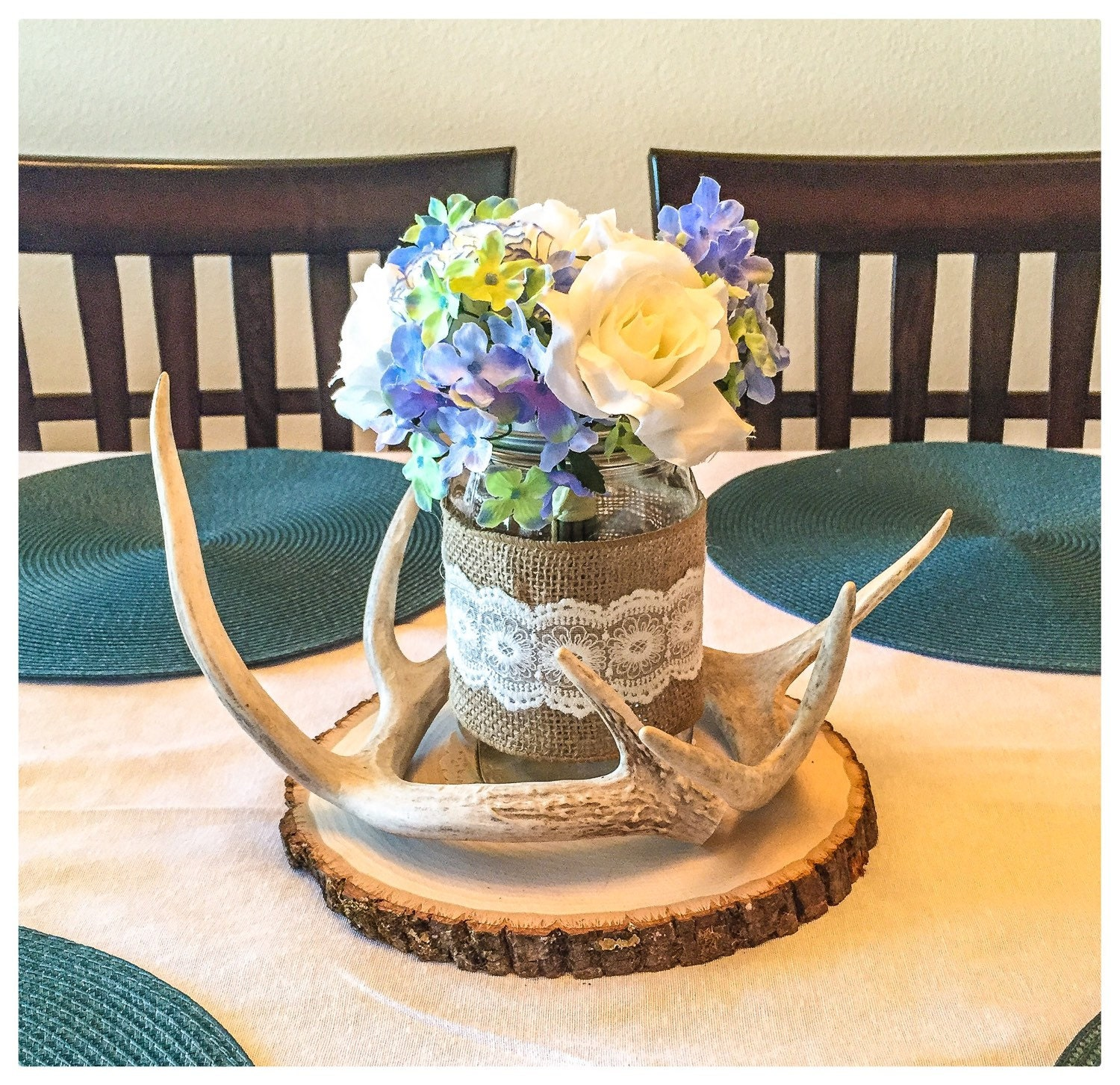 Real deer antler centerpiece antler by turquoiseowldesign for Antlers for decoration