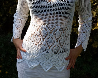 Natural cotton crochet , crochet blouse, openwork, organic clothing, eco friendly, bio kleidung, Spitzenbluse, Baumwollbluse, lace blouse