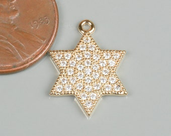 Star of David CZ Gold Pave 15mm Pendant
