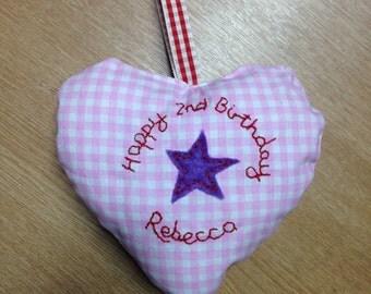 Personalised Flower Girl present / Girls birthday heart cushion