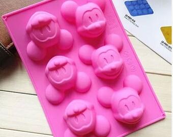 6-hole Mickey Soap Mold Mickey Cake Mold Silicone Mickey Chocolate Mold DIY Soap Mold Mickey Pudding Mold