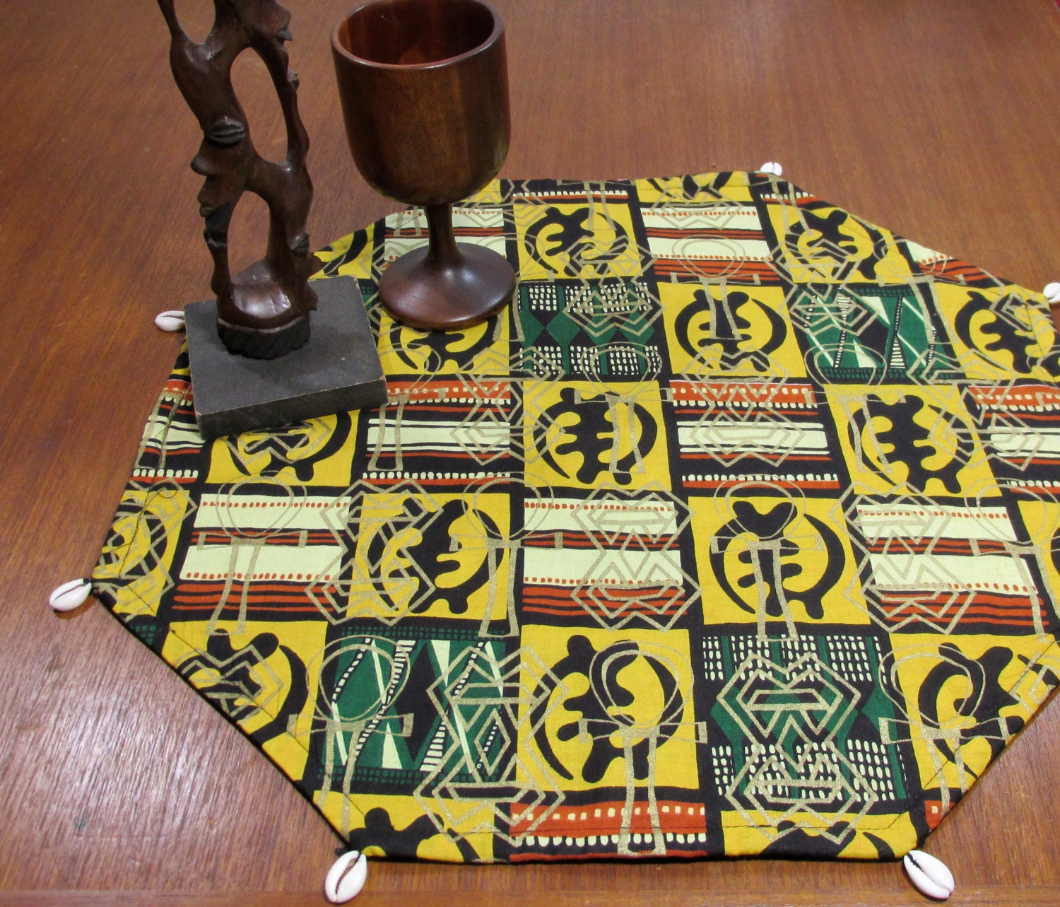 African print adinkra symbol black red and gold table mat for African decor