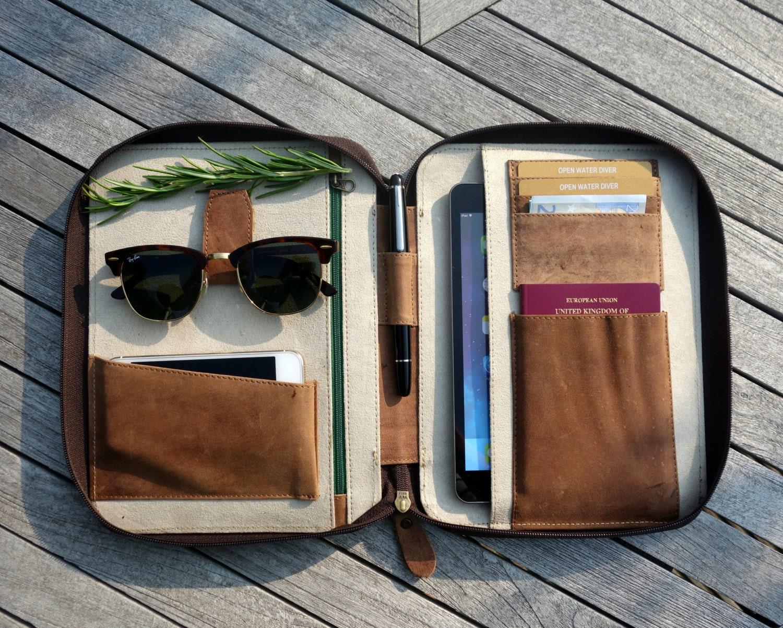Leather Travel Wallet Medium Ipad Mini Kindle Folio Passport