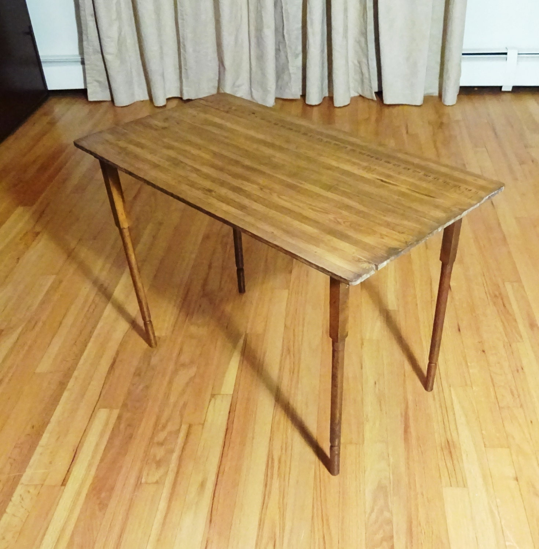 Picture of: C1890 Antique Oak Folding Sewing Table W Built In Tape Measure Tailor Ruler Haute Juice