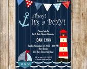 Navy Nautical Baby Shower Invitation, Ahoy It's A Boy Digital Invite, Navy Baby Boy Shower, Sailor, Anchor Baby, Lighthouse, DIY Printable