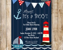 Navy Nautical Baby Shower Invitation, Ahoy It's A Boy Digital Invite, Navy Baby Boy Shower, Sailor, Anchor Baby, Lighthouse, DIY Printable