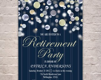 Navy Blue Retirement Party Invitation, Nautical Retirement Invite, Silver Glitters Retirement, Navy Blue Adult Party Invite, Retiring