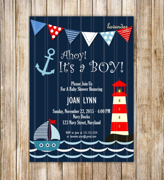 navy nautical baby shower invitation ahoy it's a boy, Baby shower invitations