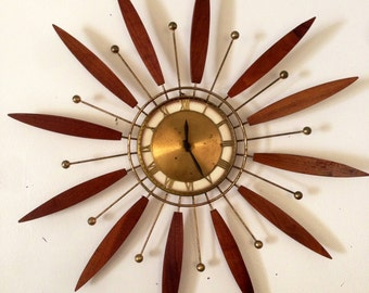 Mid Century Modern Brass Walnut Teak Wood Starburst Sunburst Clock
