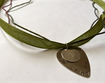 Then Sings My Soul Hand-stamped Guitar Pick Necklace