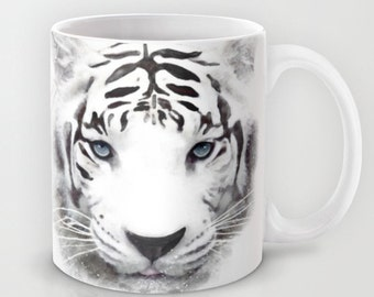White Tiger Mug -11 or 15 oz - Wild Life Cute Animals Coffee Cup Nature Tea Birthday Gift for Her Cute Pets Black White Womens Man Ceramic