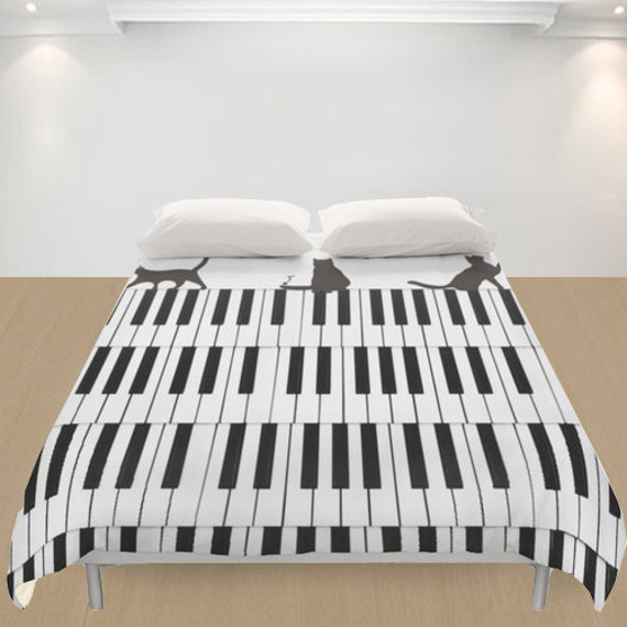 chats housse de couette piano music musicien amoureux des. Black Bedroom Furniture Sets. Home Design Ideas