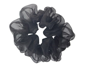 Scrunchies Black Organza Ponytail Holder (Free Shipping) Hair Accessories Made in USA